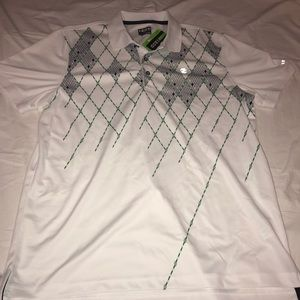 IZod Golf White/Green Shirt Size Large